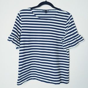 J. Crew Navy and White Striped Ruffle Sleeve Top